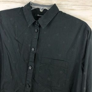 Madewell Faded Star Pattern Black Button up